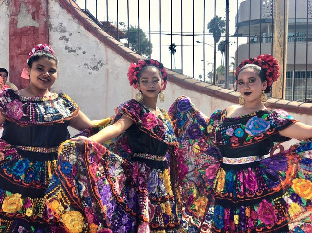 Colorful dancers at Festi Arte in Tijuana.